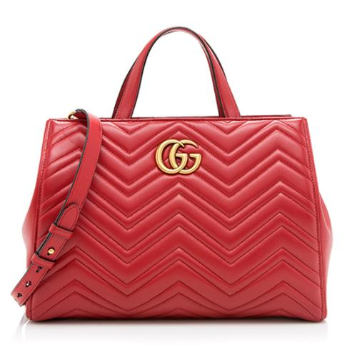 Gucci Matelasse Leather GG Marmont Medium Tote