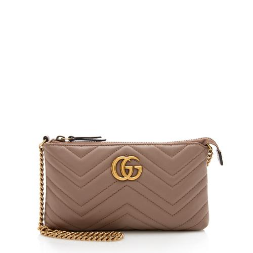 Gucci Matelasse Leather GG Marmont Mini Chain Bag