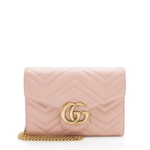 Gucci Matelasse Leather GG Marmont Mini Chain Shoulder Bag