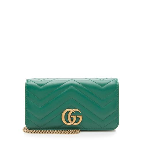 Gucci Matelasse Leather GG Marmont Mini Chain Wallet