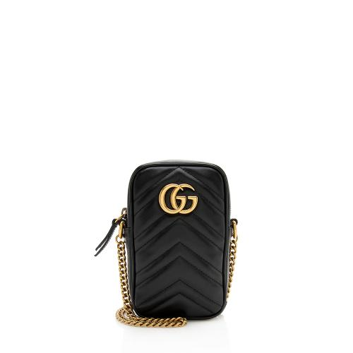 Gucci Matelasse Leather GG Marmont Mini Crossbody Bag