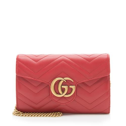 Gucci Matelasse Leather GG Marmont Mini Wallet on Chain Bag