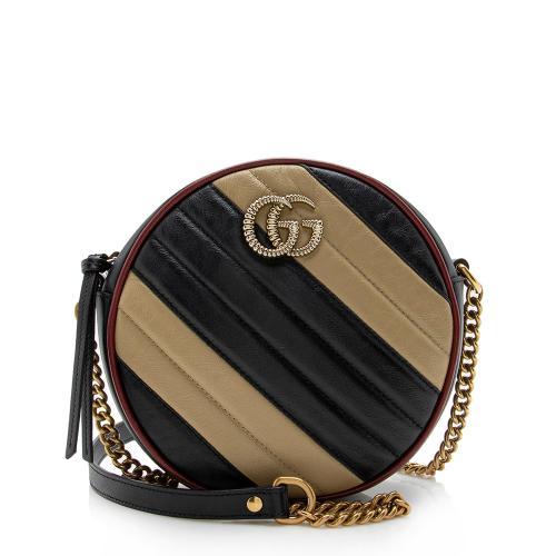 Gucci Matelasse Leather GG Marmont Round Mini Shoulder Bag