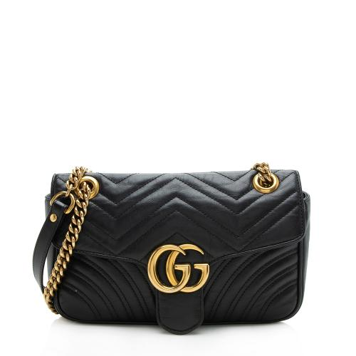 Gucci Matelasse Leather GG Marmont Small Flap Shoulder Bag