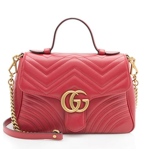 5e7776665a09 Gucci Matelasse Leather GG Marmont Small Top Handle Bag