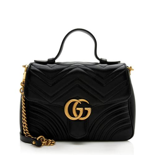 Gucci Matelasse Leather GG Marmont Small Top Handle Bag