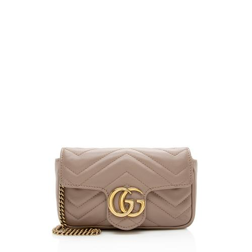 Gucci Matelasse Leather GG Marmont Super Mini Bag