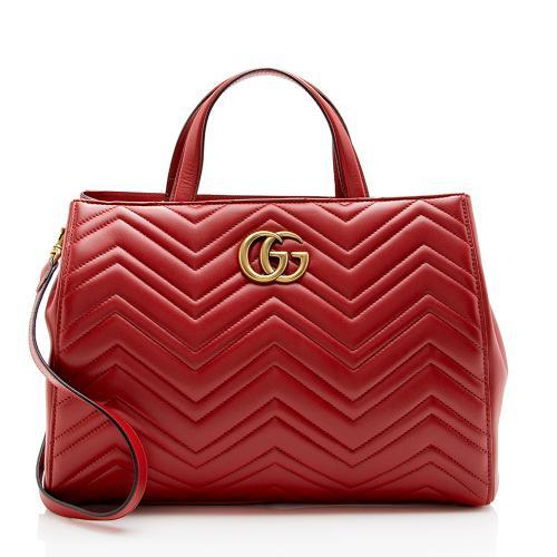 Gucci Matelasse Leather GG Marmont Top Handle Medium Satchel