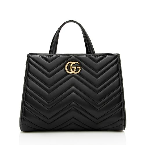 Gucci Matelasse Leather GG Marmont Top Handle Small Satchel