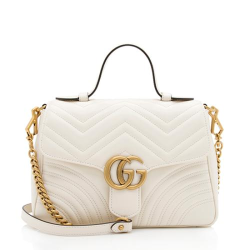 Gucci Matelasse Leather GG Marmont Top Handle Small Shoulder Bag