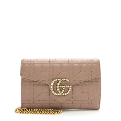 Gucci Matelasse Leather Pearl GG Marmont Flap Mini Bag