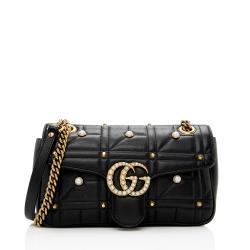 Gucci Matelasse Leather Pearl GG Marmont Small Flap Shoulder Bag