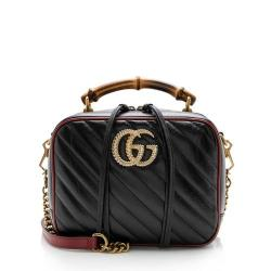 Gucci Matelasse Leather Torchon GG Marmont Bamboo Top Handle Shoulder Bag