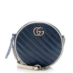 Gucci Matelasse Leather Torchon GG Marmont Round Mini Shoulder Bag