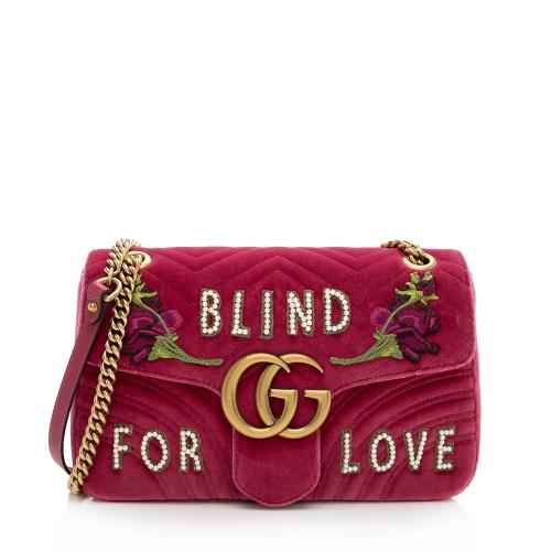 Gucci Matelasse Velvet Embroidered Blind for Love Medium Marmont Shoulder Bag