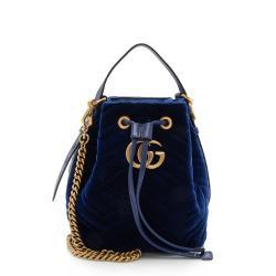 Gucci Matelasse Velvet GG Marmont Bucket Bag