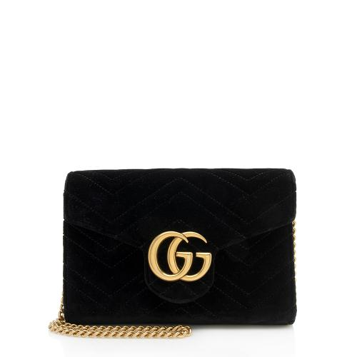 Gucci Matelasse Velvet GG Marmont Chain Wallet Bag