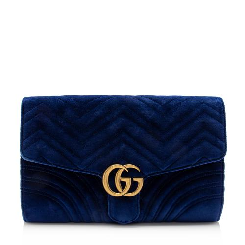 Gucci Matelasse Velvet GG Marmont Clutch