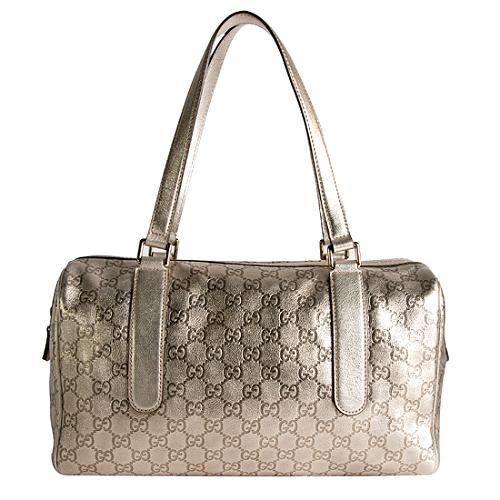 Gucci Metallic Guccissima Large Boston Satchel Handbag