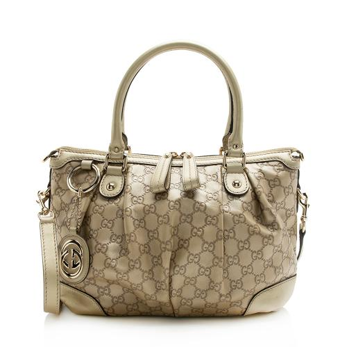 Gucci Metallic Guccissima Leather Sukey Satchel