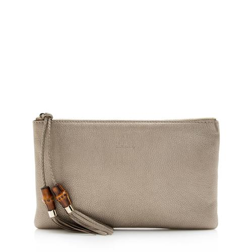 Gucci Metallic Leather Bamboo Tassel Zip Clutch