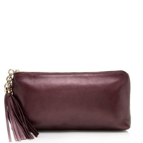 Gucci Metallic Leather Broadway Tassel Zip Clutch