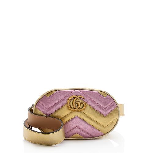 Gucci Metallic Matelasse Leather GG Marmont Belt Bag - Size 34 / 85