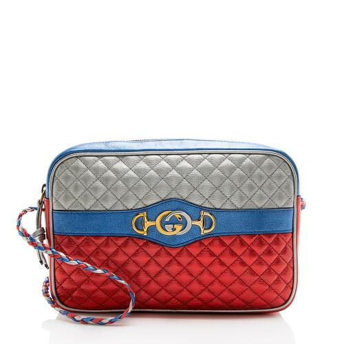 Gucci Metallic Quilted Leather Trapuntata Small Shoulder Bag