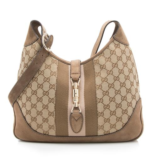 Gucci Nubuck GG Canvas Jackie Original Shoulder Bag