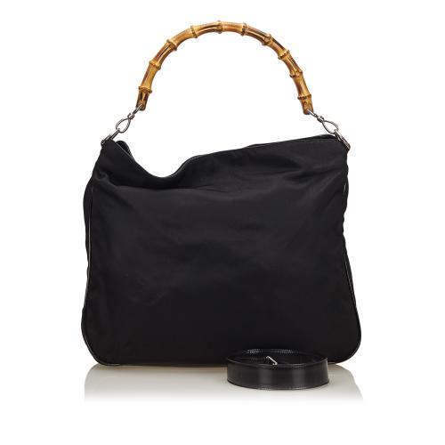 Gucci Vintage Nylon Bamboo Shoulder Bag