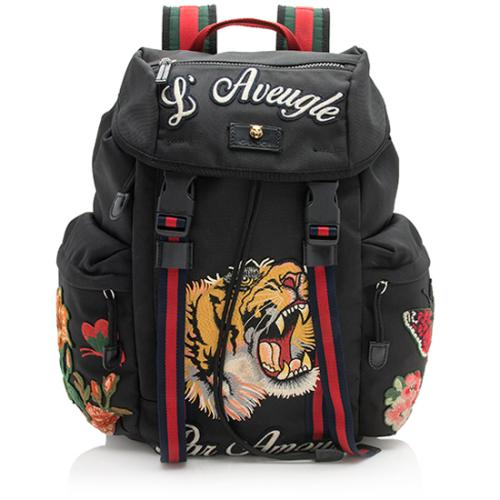 Gucci Nylon Embroidered Backpack