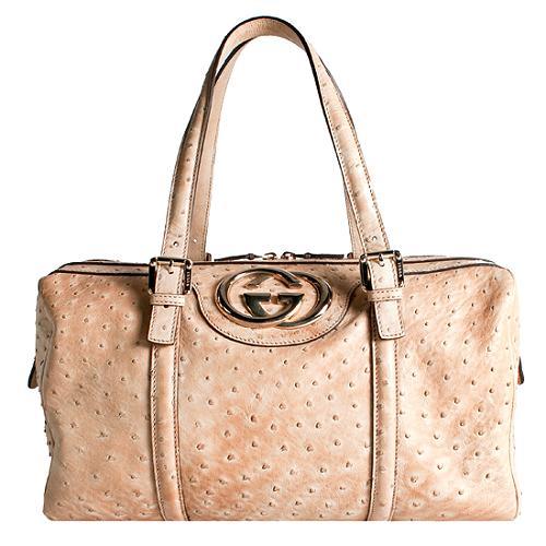 Gucci Ostrich Britt Boston Satchel Handbag