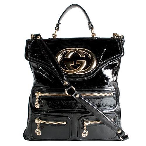 Gucci Patent Leather Britt Messenger Bag