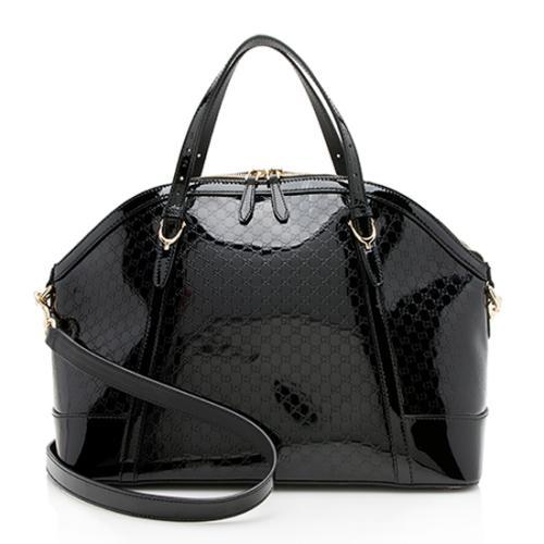 Gucci Patent Leather Microguccissima Nice Satchel