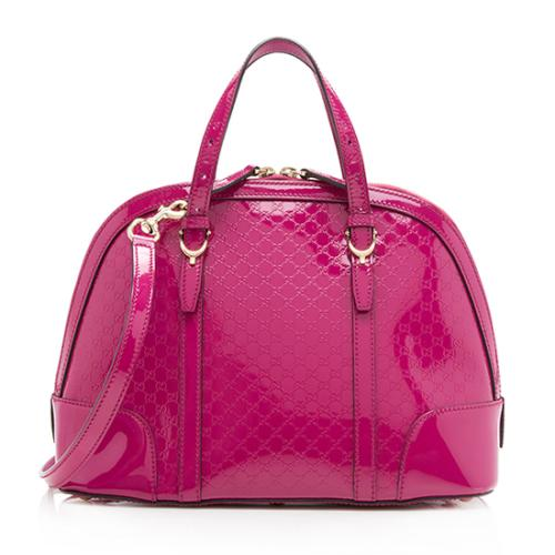 Gucci Patent Leather Microguccissima Nice Satchel