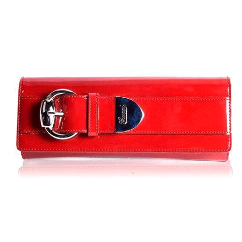Gucci Patent Leather Romy Buckle Clutch