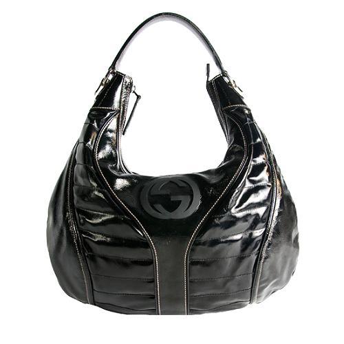 Gucci Patent Leather Snow Glam Hobo Handbag