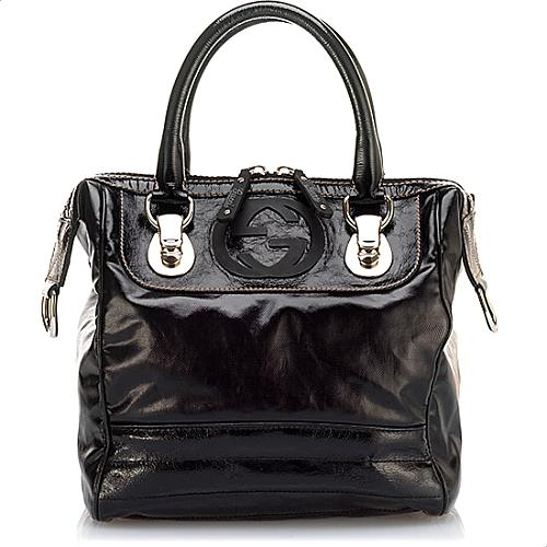 Gucci Patent Leather Snow Glam Small Boston Satchel