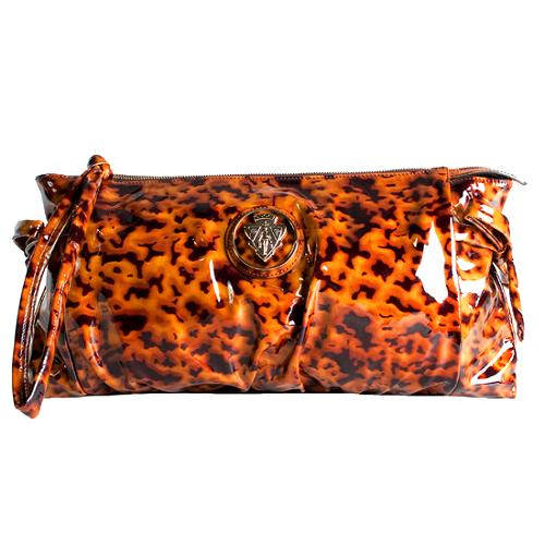 Gucci Patent Leather Tortoise Print Hysteria Large Clutch