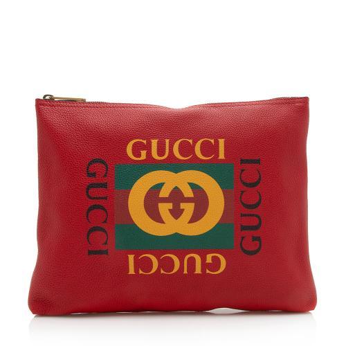 Gucci Pebbled Calfskin Logo Zip Pouch
