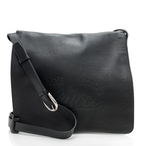 Gucci Pebbled Leather Logo Flap Messenger Bag