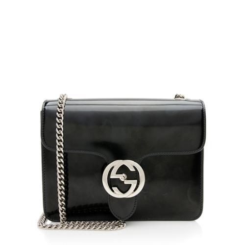 92005c4838f1 Gucci Polished Leather Interlocking Shoulder Bag