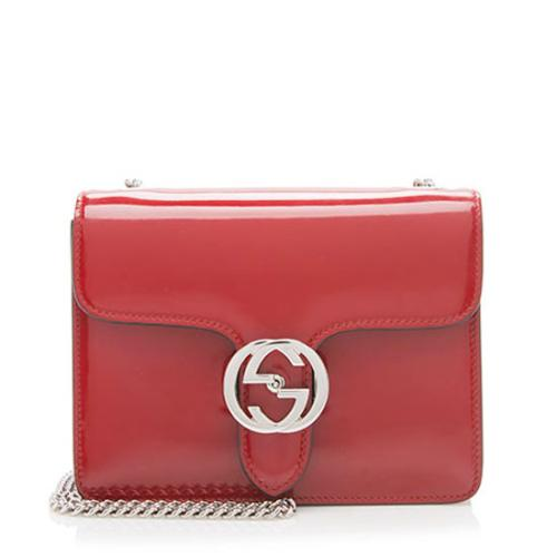 Gucci Polished Leather Interlocking Shoulder Bag