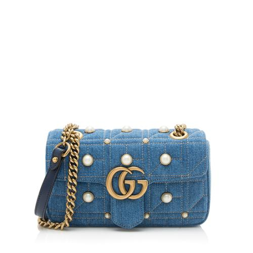 Gucci Quilted Denim Pearl Marmont Shoulder Bag