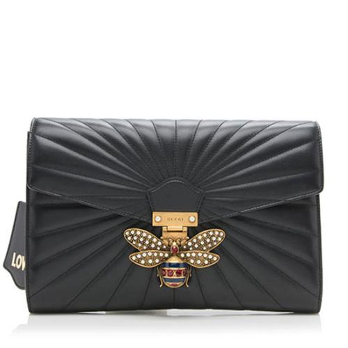 Gucci Quilted Leather Queen Margaret Bee Clutch