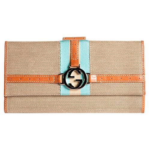 Gucci Reins Canvas Web Continental Wallet