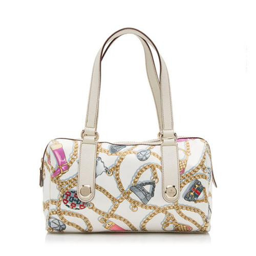 Gucci Satin Chain Print Charmy Boston Satchel