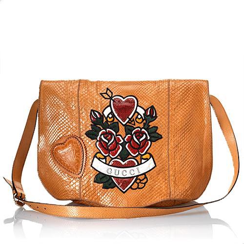 Gucci Snakeskin Tattoo Heart Tribeca Medium Messenger Bag