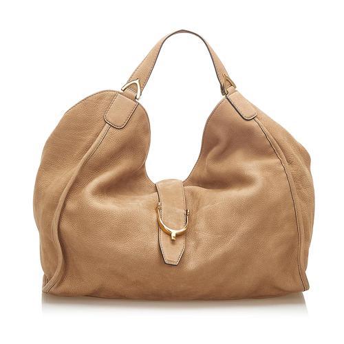 Gucci Soft Stirrup Nubuck Leather Tote Bag