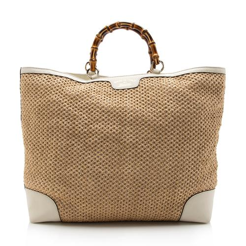 Gucci Straw Bamboo Top Handle Satchel